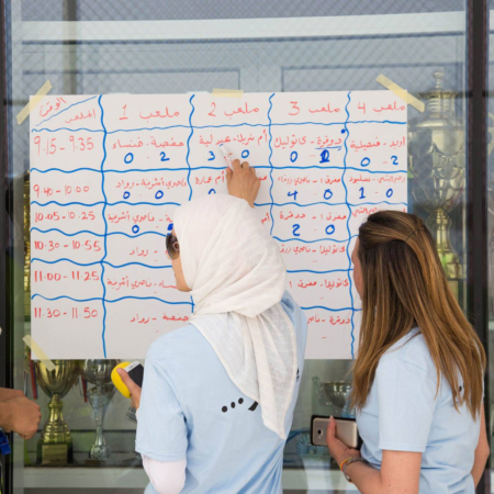 Checking the latest results from a football tournament for girls, Jordan