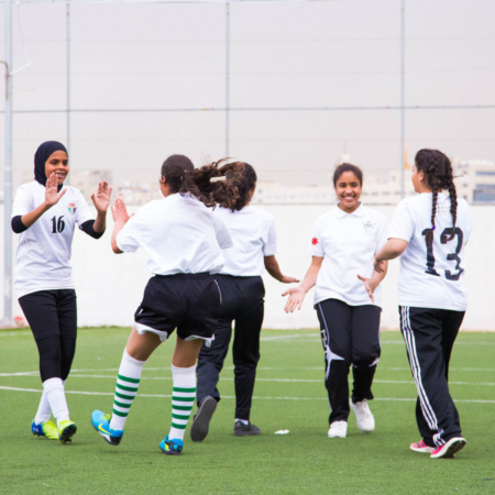 Sports is a key to promote hope, strength, fun and friendship. Girls' football in Jordan