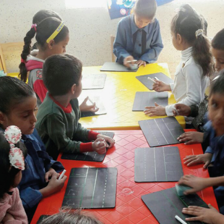 Refugee children in Jordan at the literacy project